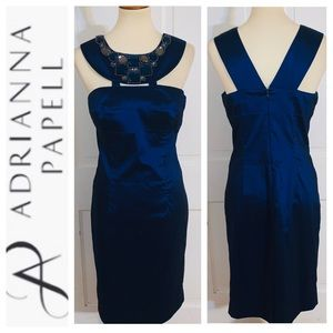 Adrianna Papell Royal Blue Bejeweled Dress Sz 10